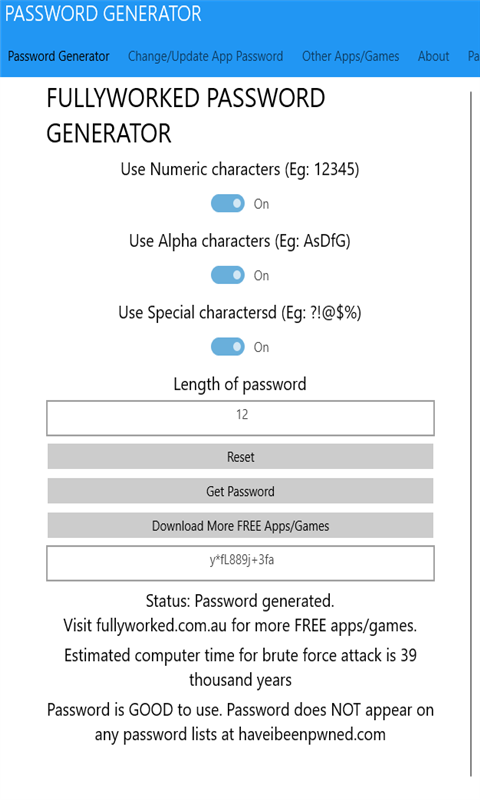 FW Password Manager Password Generator